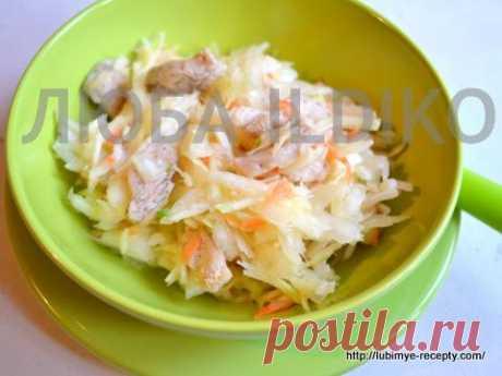 Рецепт вкусного и простого салата из капусты с мясом
