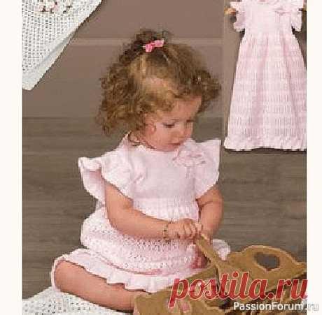 Милое платье для девочки 6-12 месяцев | Вязание спицами для детей