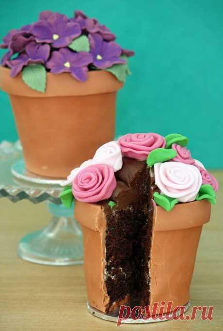 Торт цветочный горшок: 30 идей для кулинара ~ ALL-DEKOR
