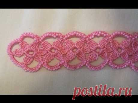 Ленточное кружево - тесьма - лента - кайма с цветами крючком бисер - tape border braid Irish lace