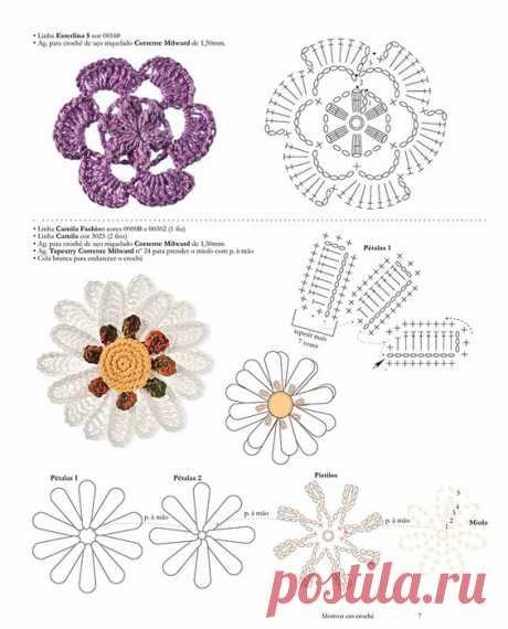 Подборка красивых цветочных мотивов.  Вязаные цветы - схемы вязания - большая подборка красивых цветочных мотивов. № 2