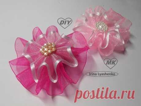 Бант-цветок из органзы МК/Bow- flower from ribbon. DIY/Arco de fita.Tutorial #77