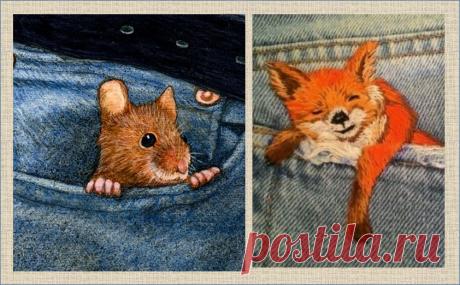 Идеи вышивки на воротничках джинсовок и карманах джинсов | МНЕ ИНТЕРЕСНО | Яндекс Дзен