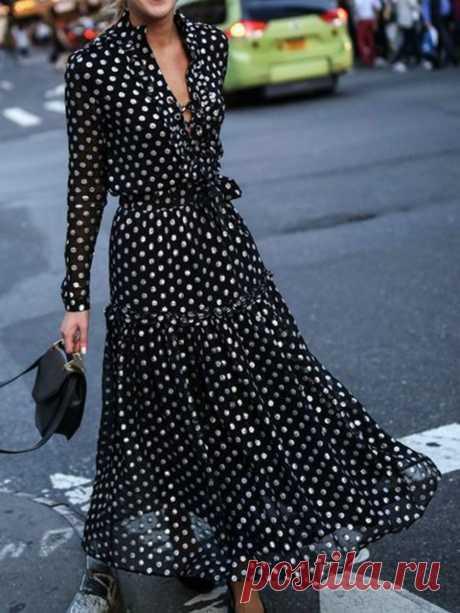 JustFashionNow Plus Size V-Neck Black Women Prom Dress Swing Dress Long Sleeve Elegant Chiffon Paneled Polka Dots Dress