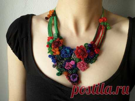 colorful freeform crochet bib necklace - statement necklace with red, purple, pink, blue, gray and green beaded crochet flowers by irregular expressions   Flickr - Photo Sharing!