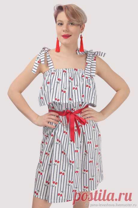 Юбка-платье трансформер белое с вишнями – купить на Ярмарке Мастеров – M2APQRU | Юбки, Москва