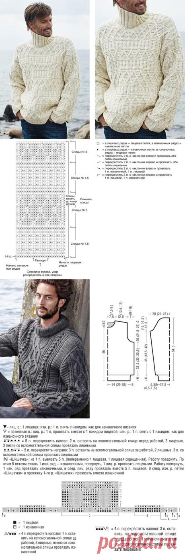 Мужской свитер спицами - схемы с описаниями