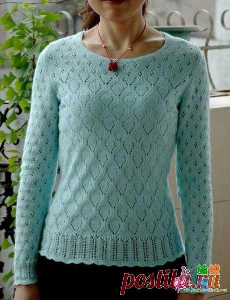 Пуловер ажурным узором схема. Женский пуловер с узором ромбами спицами. | Я Хозяйка