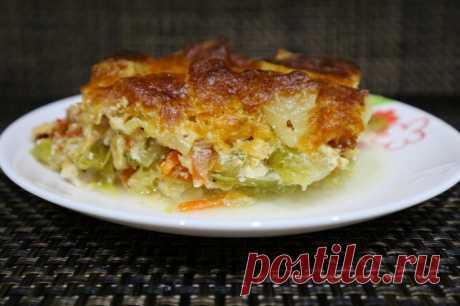 Овощная запеканка с курицей в духовке Какой же вкусной получается овощная запеканка с курицей. Люблю этот рецепт за то что он готовится в духовке. Блюдо получается очень сытным, аппетитным и полезным. Ингредиенты-400 гр капусты- 1 морковь- 1 кабачок- 10 шт картофеля- 2 помидора- 1 куриное филе- 2 репчатых лука- соль и перец по...