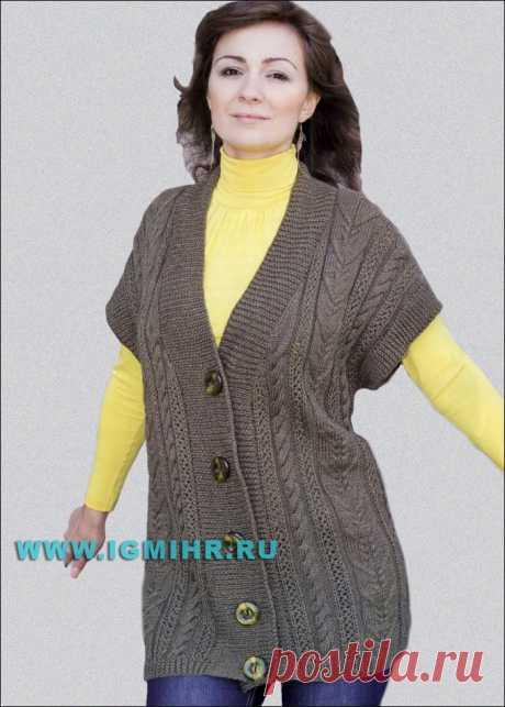 Мода PLUS Комфортно и тепло! Большие размеры. Удлиненный жилет с вертикалями выразительных рельефов. Спицы