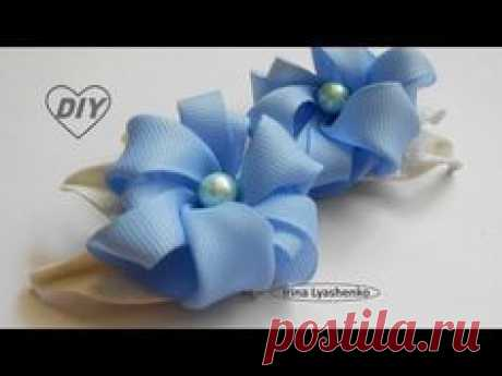 Резинки для волос. Цветы из репсовой ленты МК/Flower on gum DIY/PAP #228 - YouTube