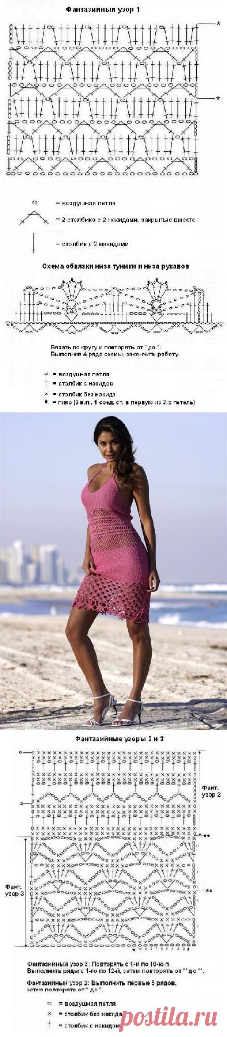 Вязаные пляжные сарафанчики и купальники, вязание крючком белье,  - схема вязания, фото, описание