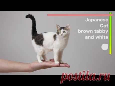 """羊毛フェルトで作る猫(キジトラ/白) """"Japanese Cat /brown tabby and white """" The process of making with wool felt"""