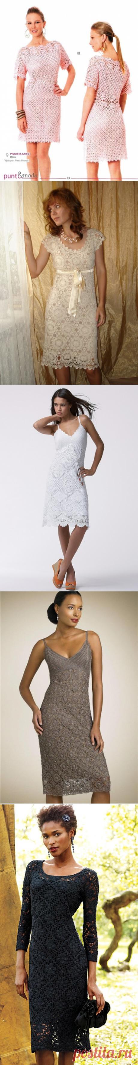 Вечерние платья крючком, вязать платье крючком схемы, летние платья крючком схемы и описание | Метки: фото, вязаный