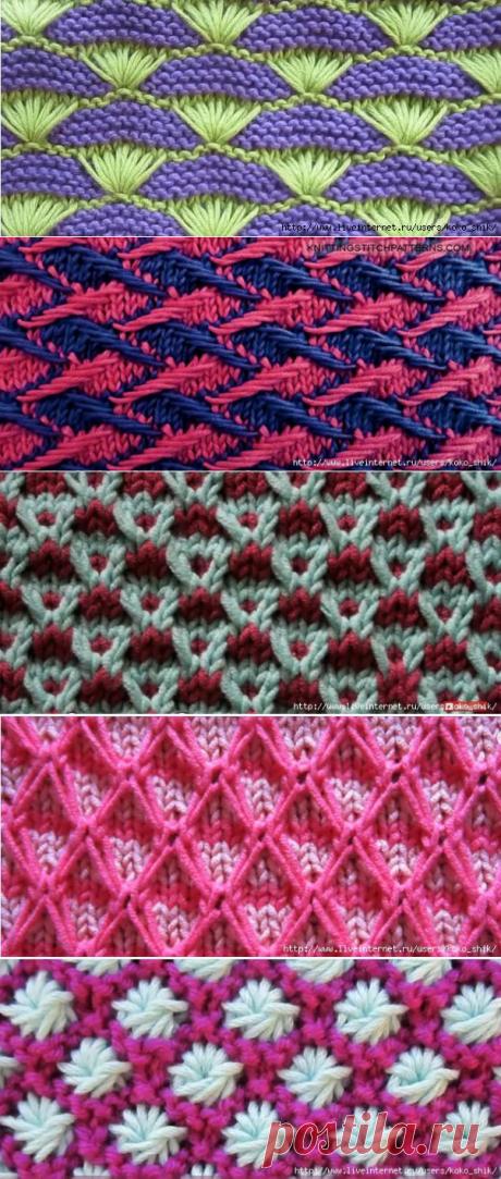 Вязание спицами - двухцветные узоры спицами. 12 Видео-МК