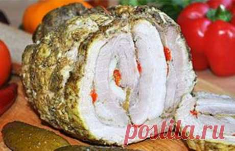 Roll from a peritoneum with sweet pepper - Simple recipes of Овкусе.ру