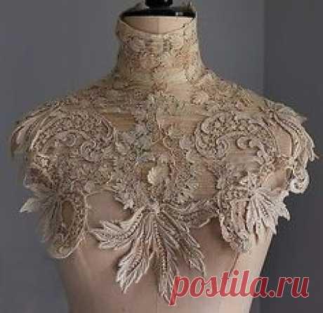 Antique/vintage Edwardian guipure lace collar / dress yoke in Antiques, Fabric/ Textiles, Lace/ Crochet/ Doilies | eBay