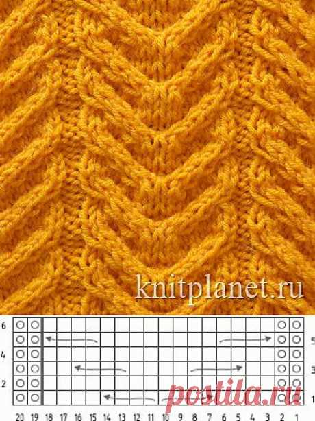 Планета Вязания | Узор Колос, схема вязания узора спицами