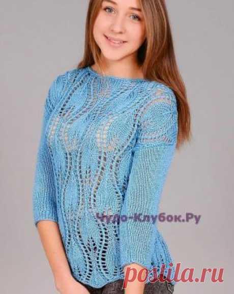 Пуловер с узором «листья» 1275 | ЧУДО-КЛУБОК.РУ
