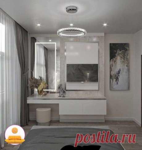 Спальня в серых тонах с небольшой гардеробной комнатой!