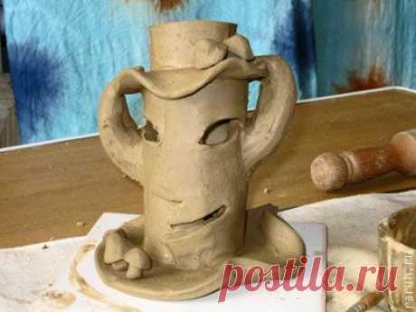 """Делаем подсвечник """"Колдовское дерево""""из красной глины (керамика). - Ярмарка Мастеров - ручная работа, handmade"""