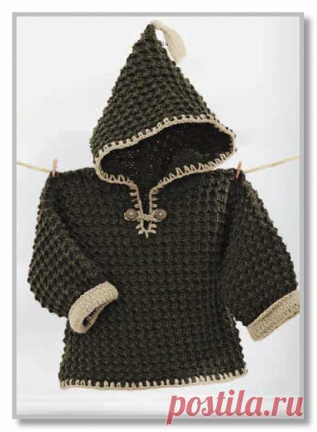 Вязание детям спицами. Фотогалерея моделей для детей от 0 до 3 лет. Рельефный цельновязанный пуловер с капюшоном. Размеры на 6/12/18/24 месяца