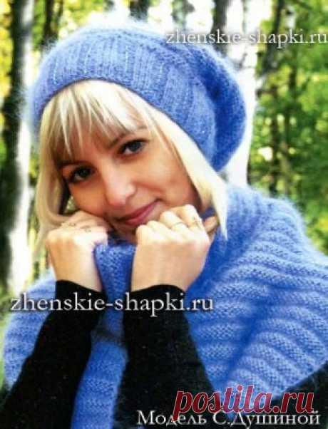 Вязание спицами зимней шапки и шарфа из мохера. / zhenskie-shapki.ru