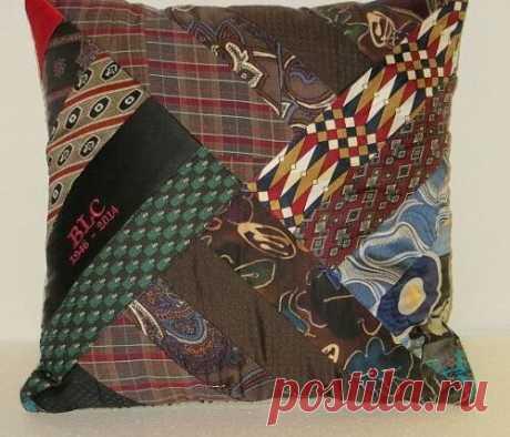 Декоративная подушка из старых галстуков: как сшить своими руками | Самошвейка | Яндекс Дзен