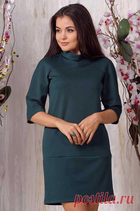 Платье 1073. Т - зеленый. Трикотаж диор клетка   Новинки   Dress-top