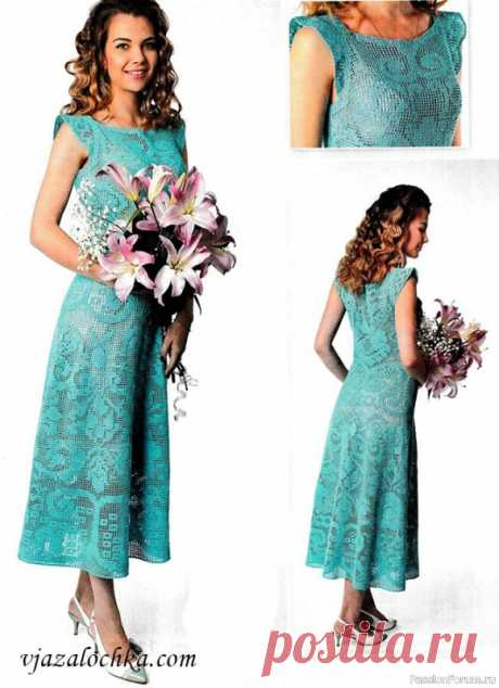Turquoise dress with a fillet pattern