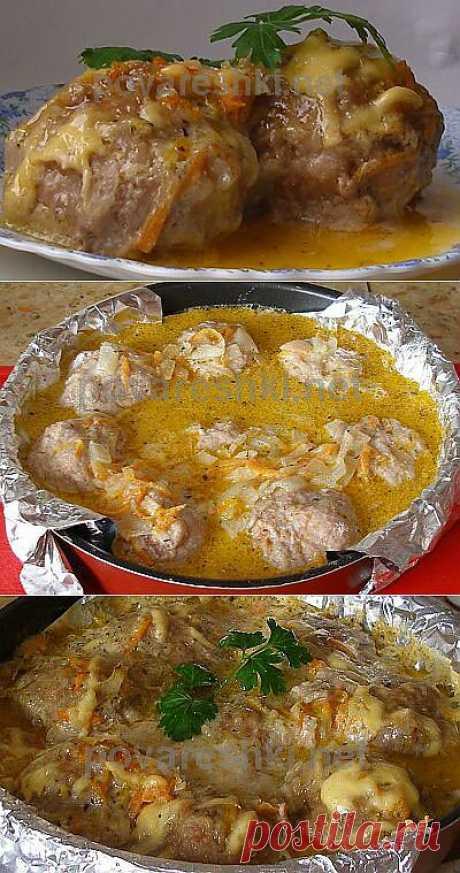 Тефтели запеченные в сметанном соусе - кулинарные рецепты Поваренка с поварешкой