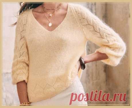 Узор для джемпера из мохера с ажурными рукавами #knitting #вязание_спицами #джемпера_спицами