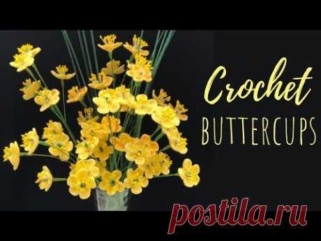Вязание крючком цветок лютик