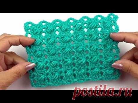 Оригинальный узор с пышными столбиками   Original pattern with puff stitches