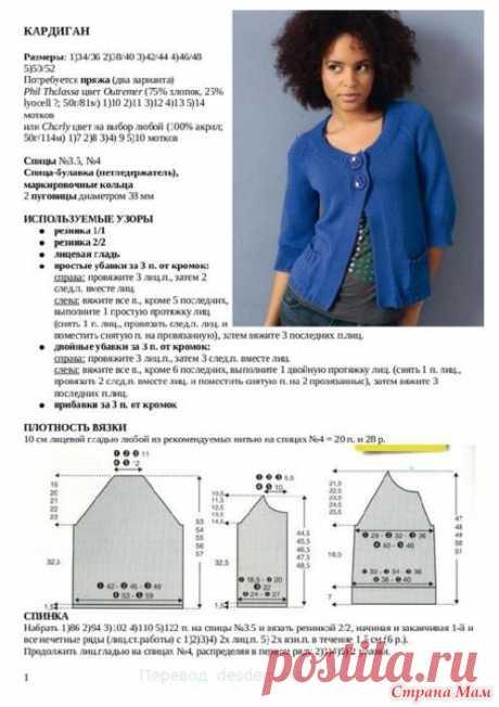 La chaqueta azul - la Labor de punto - el País de las Mamás