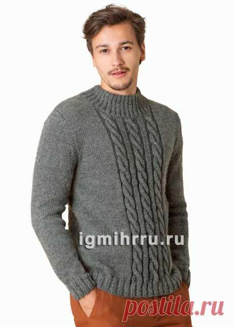 Серый мужской пуловер с «косами». Вязание спицами со схемами и описанием
