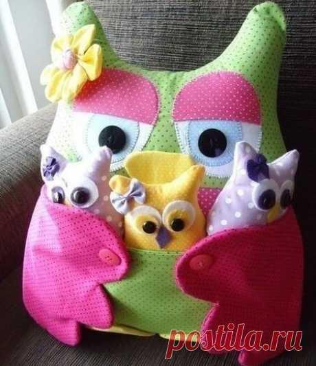 Выкройка для шитья милых подушечек с кармашками