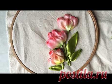 D.I.Y Ribbon Embroidery Tulips/ Hướng dẫn thêu ruy băng hoa Tuy líp