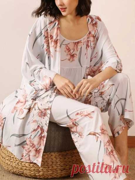 3Pcs Women Floral Print Sling Wide Leg Pants Open Front Robes Casual Home Pajama - US$29.99