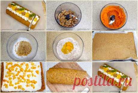Рулет из морковного бисквита с орехами и творожной начинкой