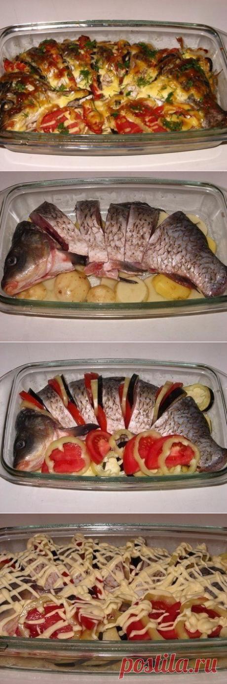 Сочный карп с овощами, запеченный в духовке. Вкус великолепен! - Все для Вас!