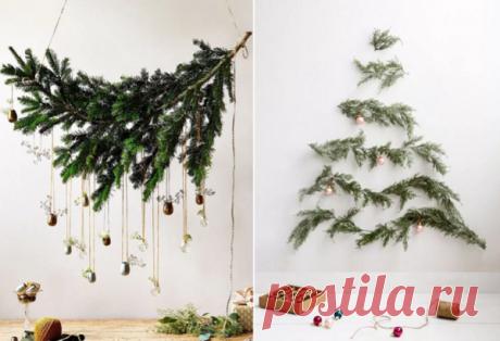 Долой целую елку - елка на стене из веток – и места не займет, и карман не опустеет