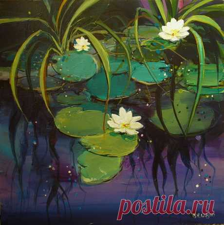 Water Lilies 1 - Acrylic on Box Canvas Sheffield paintings Landscape cityscape art