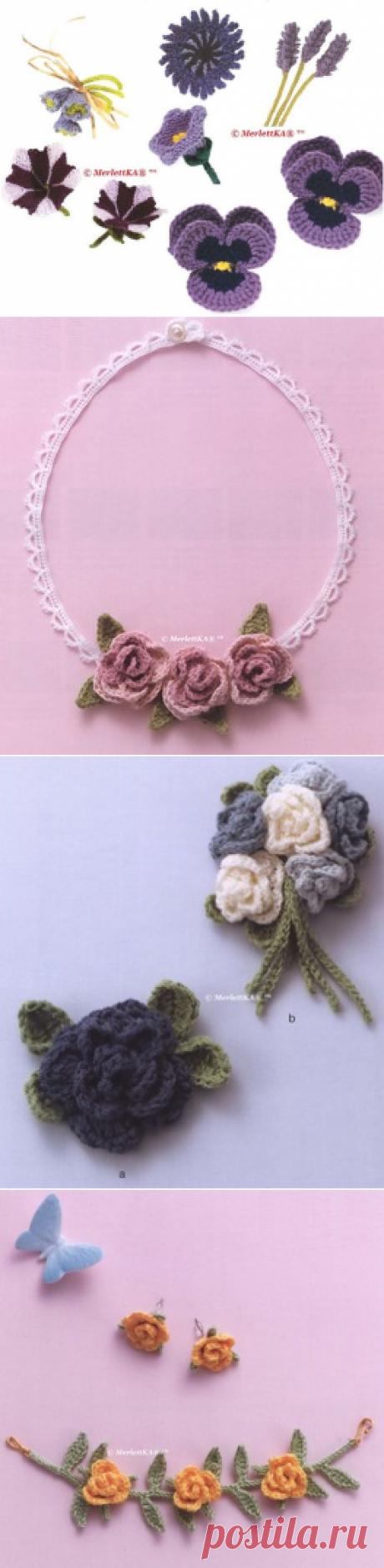 Вязаные крючком цветы ... идеи к пасхе + большая подборка с основами