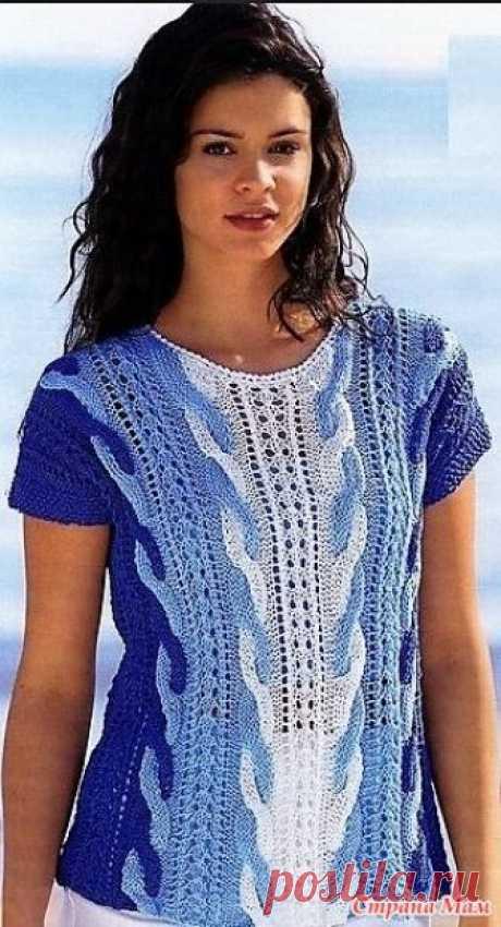Трехцветный пуловер с косами. Спицы. Размеры: 38/40 (42/44) 46/48  Вам потребуется: по 200 (250) 300 г синей и бирюзовой, а также 100(150) 150 г белой пряжи (100% хлопка, 110 м/50 г); спицы № 4,5; крючок № 4.
