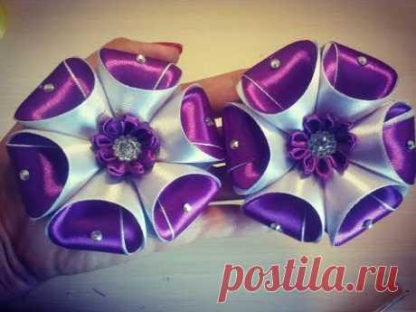 бант из ленты Kanzashiloemen gemaakt van satijnen lint decoratieşerit çiçekler - YouTube