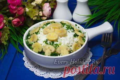 """Салат """"Буржуйский"""" с ананасами и курицей, пошаговый рецепт"""
