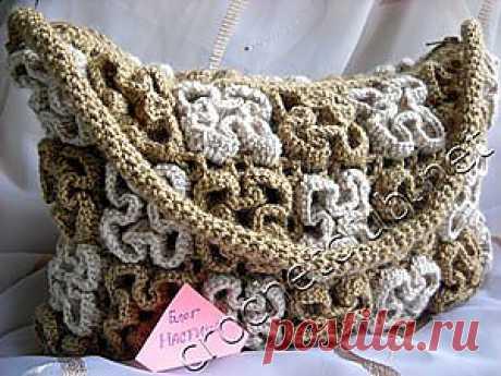 Сумочка из цветов в технике объемного вязания - Вязание Крючком. Блог Настика