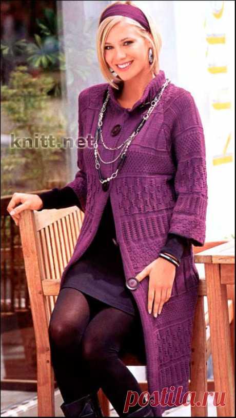 Узорчатое лиловое пальто