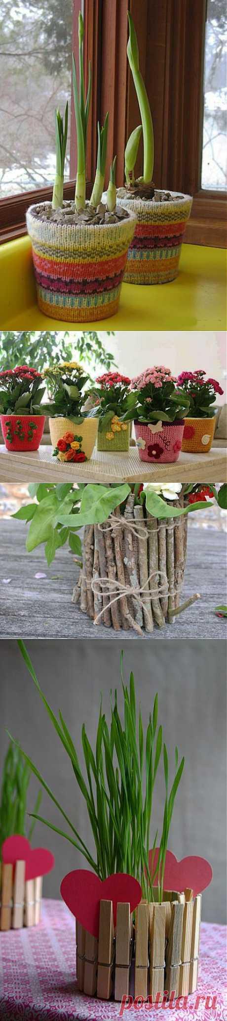 (+1) тема - Оригинальный декор цветочных горшков. Фото-идеи   Интерьер и Дизайн